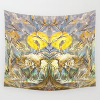 ostrich Wall Tapestries featuring Ostrich Ma & Co by CrismanArt