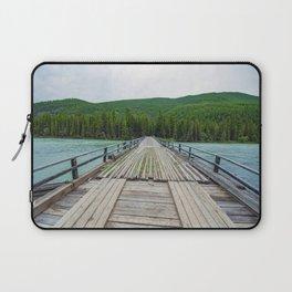 Wooden bridge across mountain stream. Altai Republic, Russia. Laptop Sleeve