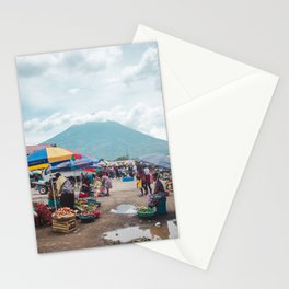 Typical daily life in a fruit and vegetable street market in Antigua Guatemala Stationery Cards