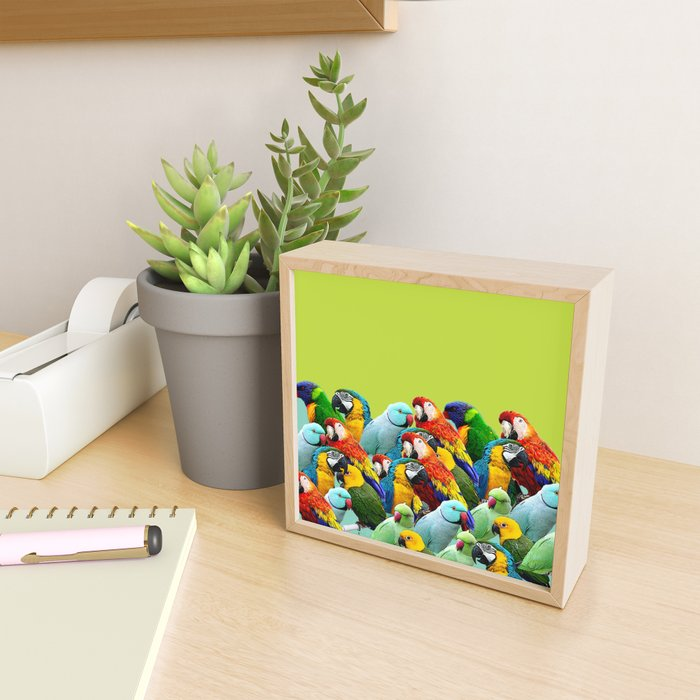 home decor pattern parrots Framed Mini Art Print