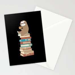 Sloth with coffee on books Stationery Cards