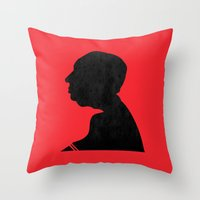 hitchcock Throw Pillows featuring Hitchcock by Vincent Caduc