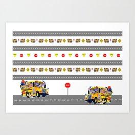 School Bus Fun Art Print