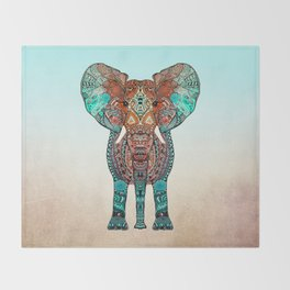 BOHO SUMMER ELEPHANT Throw Blanket