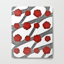 Black & red roses pattern Metal Print