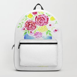 Beautiful Watercolor Flower bouquet in a Glass Mason Jar Backpack