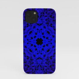 Royal ornament of blue spots and velvet blots on black. iPhone Case