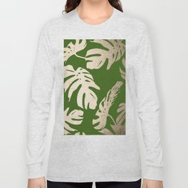 Palm Leaves White Gold Sands on Jungle Green Long Sleeve T-shirt