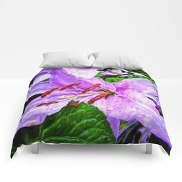 Lilies On Black Background Comforters