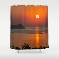 fishing Shower Curtains featuring Fishing morning by Svetlana Korneliuk
