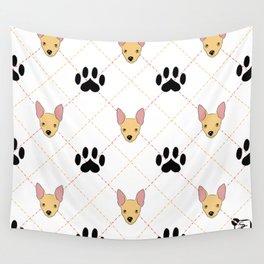 Chihuahua Paw Print Pattern Wall Tapestry
