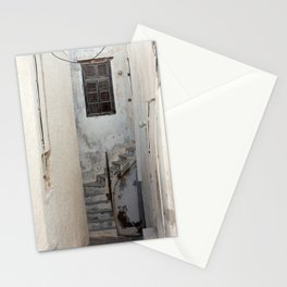 Street in Naxos town in Greece, with window and stairs. | Travel photography for fine art photography print.  Stationery Cards