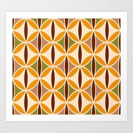 Retro 70s yellow brown ovals grid Art Print