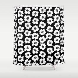 Linocut botanical nature floral flower art nursery black and white decor newborn Shower Curtain