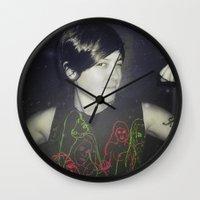 tegan and sara Wall Clocks featuring Tegan by Virginie Le Guen-Bertheaume
