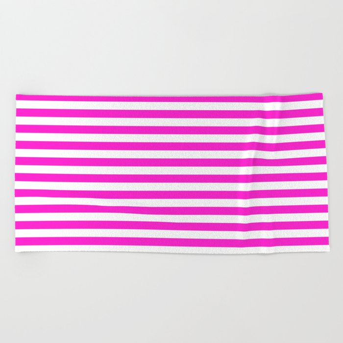 Horizontal Stripes (Hot Magenta/White) Beach Towel