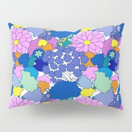 Far-Out 60's Floral in White Pillow Sham