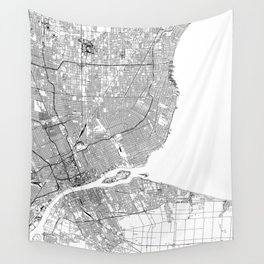 Detroit White Map Wall Tapestry