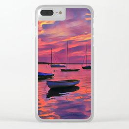 Sunset on the Mooring Field Boats Clear iPhone Case