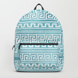 Gentle Blue Greek Meander Pattern on glass Backpack