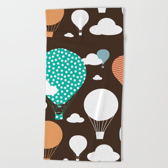 Hot air balloon chocolate Beach Towel