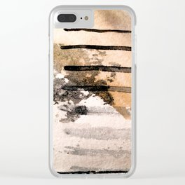Desert Musings - a watercolor and ink abstract in gray, brown, and black Clear iPhone Case