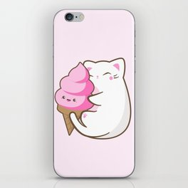 Ice cream lover chubby cat iPhone Skin