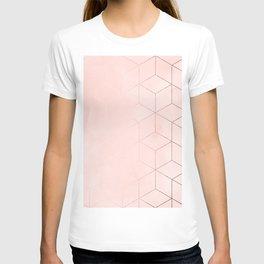 Rose Gold Pink Pastel Geometric Cubes T-shirt