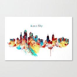 Kansas City Skyline Silhouette Canvas Print