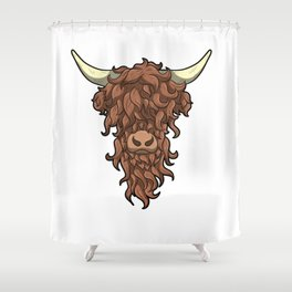 Scottish Highland Cow Wild Hairstyle Gift Shower Curtain