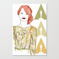emma stone Canvas Prints featuring Emma by Kats Illustration