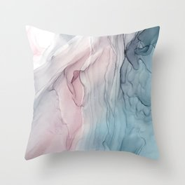 Calming Pastel Flow- Blush, grey and blue Throw Pillow