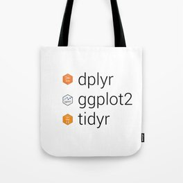 Tidyverse libraries: dplyr, ggplot2, tidyr Tote Bag