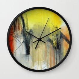 Gold Yellow Abstract Print  Wall Clock
