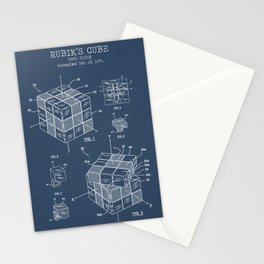Rubiks cube blueprint Stationery Cards