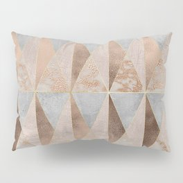 Copper Foil and Blush Rose Gold Marble Triangles Argyle Pillow Sham