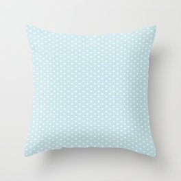 Small White Heart pattern On Baby Blue Background Throw Pillow