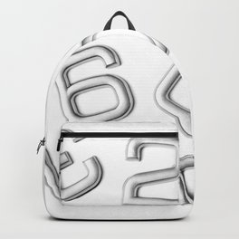 Silver numbers on white Backpack