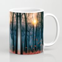 leaves Mugs featuring Red feather dance  (colour option) by Viviana Gonzalez