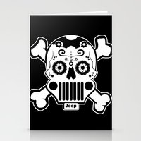jeep Stationery Cards featuring Jeep Logo Sugar Skull by Black Paw Canvas