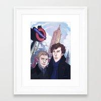 johnlock Framed Art Prints featuring London Johnlock by enerjax