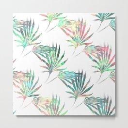 Palmetto Fronds Tropical Multicolor Pattern Metal Print