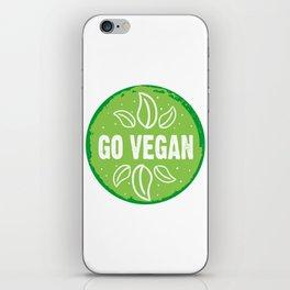 GO VEGAN, green circle (2) iPhone Skin