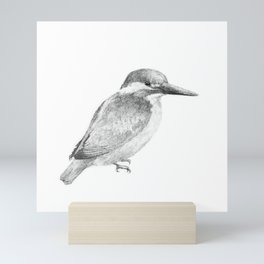 Common kingfisher (black and white) Mini Art Print