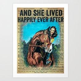 Animals Horse Happily Art Print