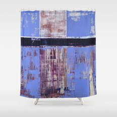 Chagrin Cornflower Blue Abstract Painting Modern Art Shower Curtain