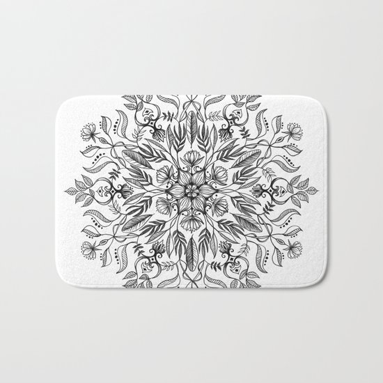 Thrive - Monochrome Mandala Bath Mat
