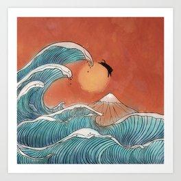 Ninja cat swim at the great wave Art Print