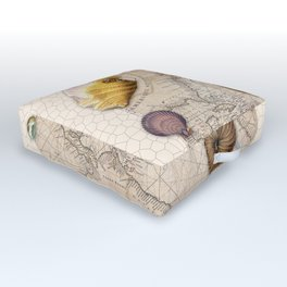 Marine Treasures Beige Tan Stained Glass Pattern Outdoor Floor Cushion