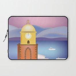 St. Tropez, France - Skyline Illustration by Loose Petals Laptop Sleeve